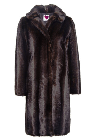 Mink Car Coat in Mahogany