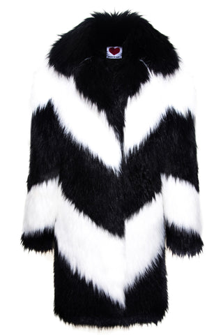 Notch Collar Oversize Coat in Black & White