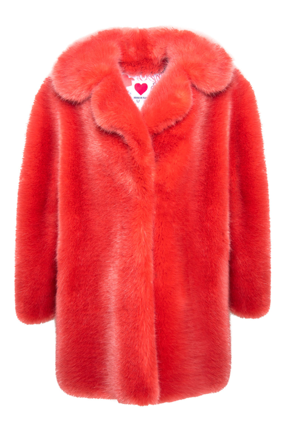 Fox Oversized Peacoat in Salmon Orange