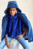 100% Recycled Shearling Oversized Peacoat - French Blue thumbnail