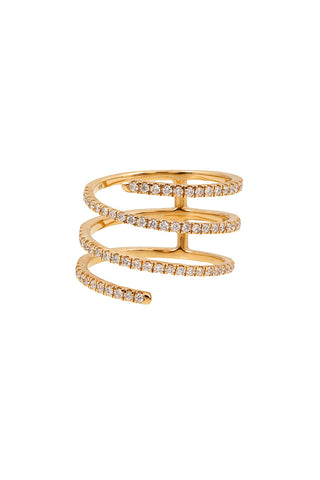 HARMONIC Coil Ring in Yellow Gold with White Diamonds
