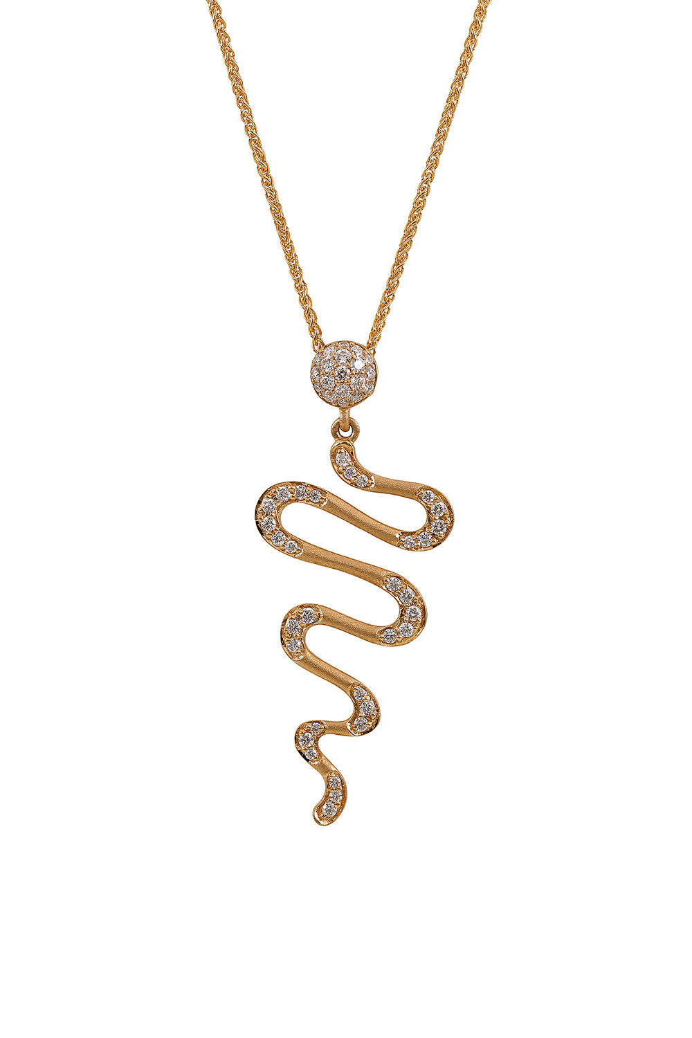 HARMONIC Drop Necklace in Yellow Gold with White Diamonds