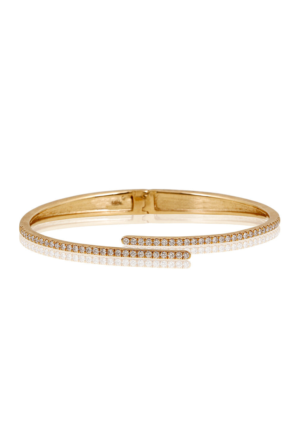 HARMONIC Hinge Bangle in Yellow Gold with White Diamonds