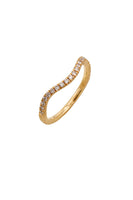 HARMONIC Stackable Wave Rings in Yellow, White & Pink Gold with White & Champagne Diamonds thumbnail