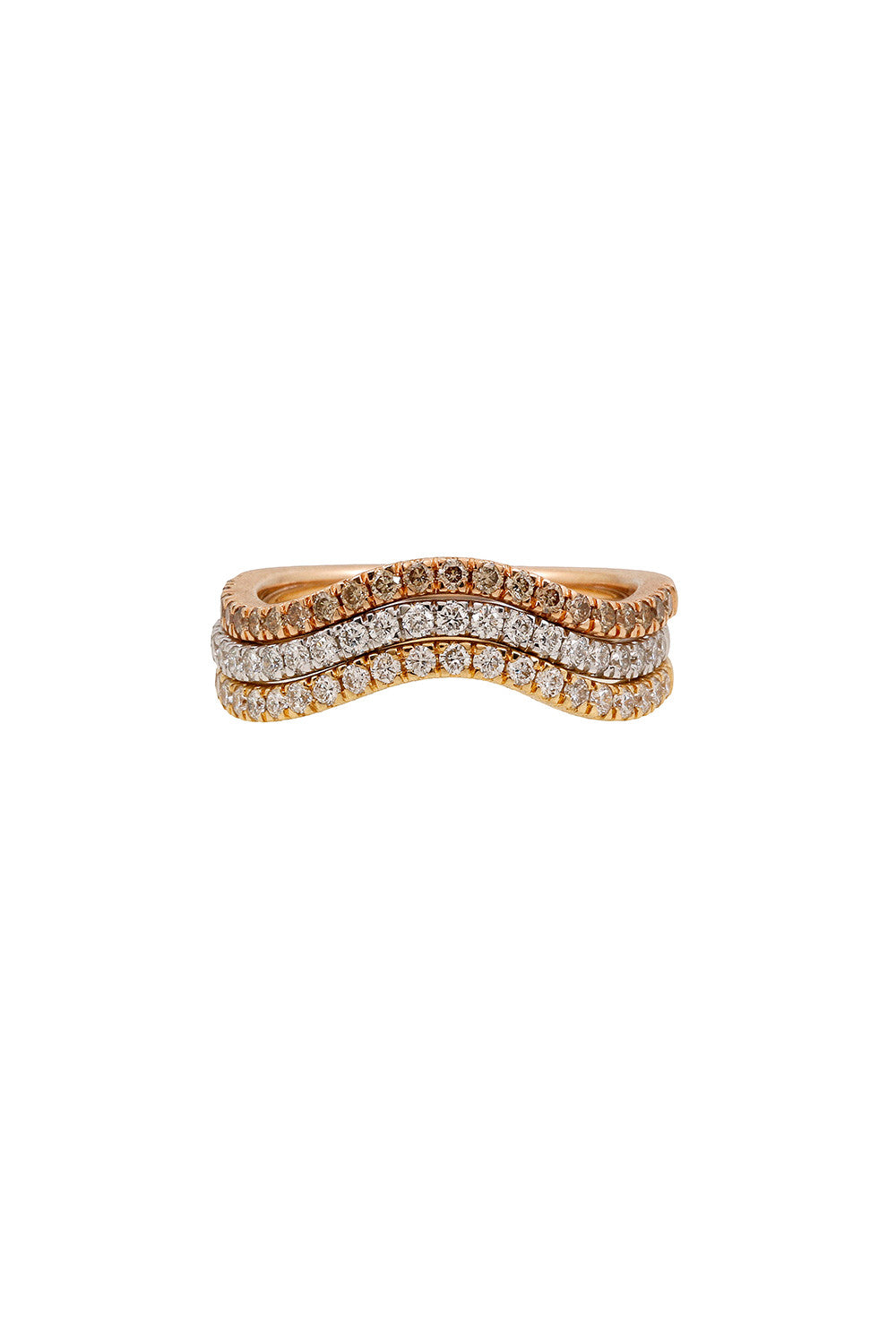 HARMONIC Stackable Wave Rings in Yellow, White & Pink Gold with White & Champagne Diamonds