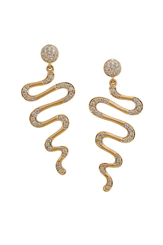 HARMONIC Drop Earrings in Yellow Gold with White Diamonds