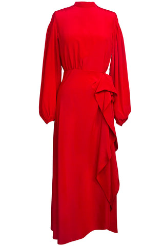 Irati Cascade Dress in Red