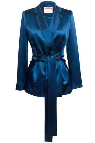 Isabel Double-Breasted Blazer in Teal Blue