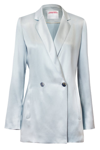 Isabel Double-Breasted Blazer in Silver Blue