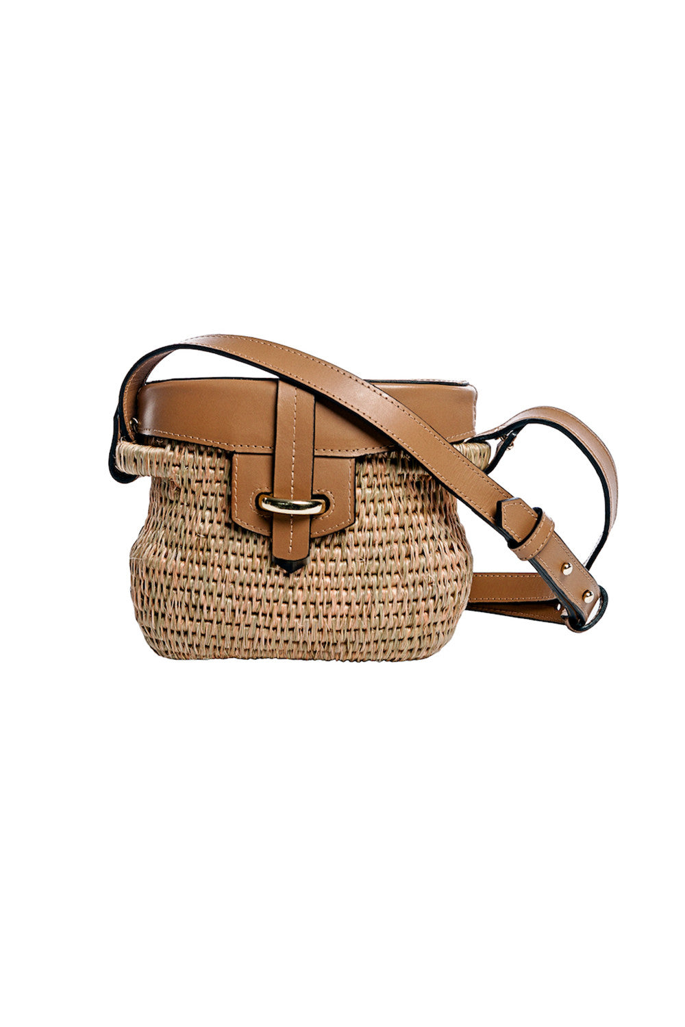 Mini Jabu Woven Basket Bag in Smoke & Blush