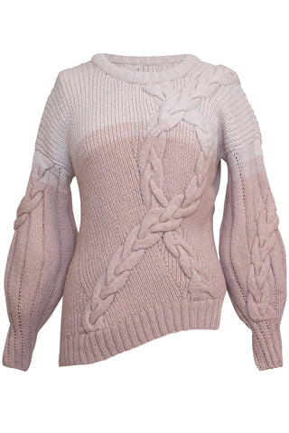 Juana Knit Cable Sweater in Pink Ombre