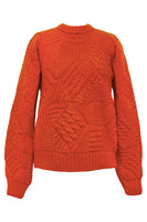 Jose Knit His & Hers Patchwork Sweater in Orange thumbnail