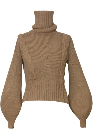 Liliana Cable Turtleneck Knit Sweater in Camel