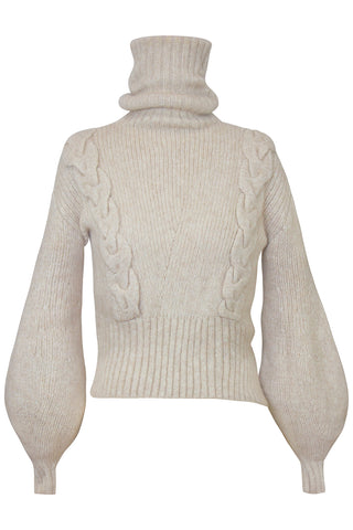 Liliana Cable Turtleneck Knit Sweater in Greige