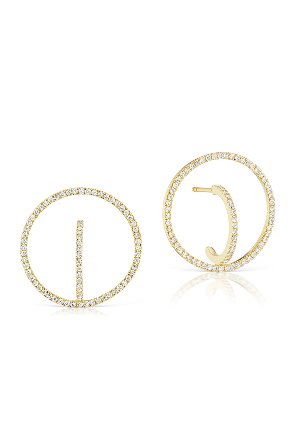 Diamond Orb Earrings in Yellow Gold