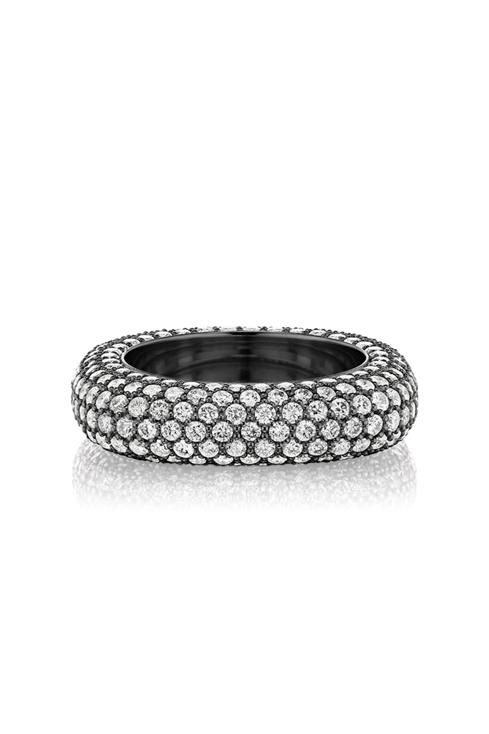 Square Bling Ring in Black Rhodium