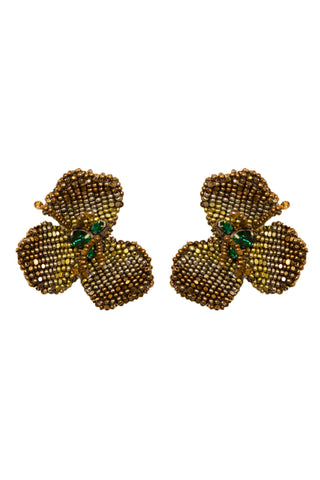 Katya Earrings in Emerald & Bronze
