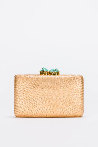 Jen Clutch in Gold with Turquoise Stones