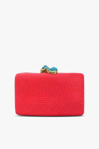 Jen Clutch in Red with Turquoise Stones