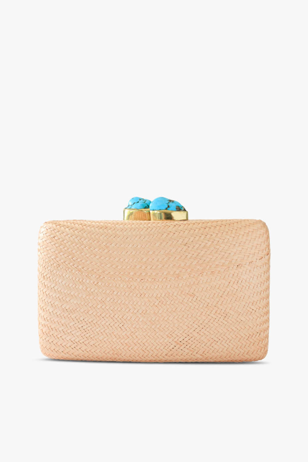 Jen Clutch in Toast with Turquoise Stones