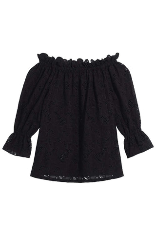 Gabrielle Off-The-Shoulder Eyelet Blouse in Black