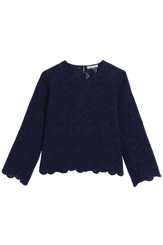 Talia Daisy Eyelet Cropped Blouse in Navy