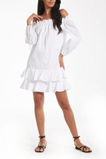 Amelia Off-The-Shoulder Ruffle Dress in White thumbnail