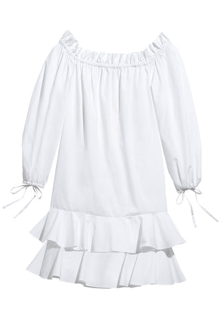 Amelia Off-The-Shoulder Ruffle Dress in White