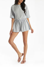 Nadia Drawstring Shorts in Grey thumbnail