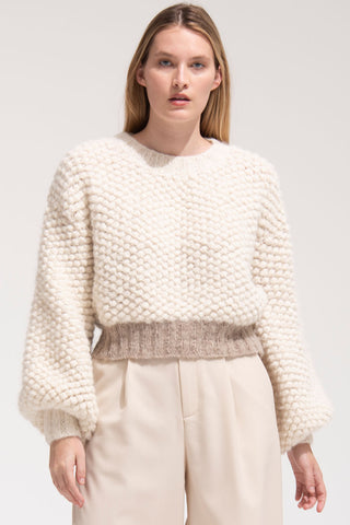 Liz Sweater in Ivory & Nut Color Blocked