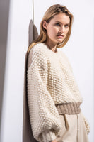 Liz Sweater in Ivory & Nut Color Blocked thumbnail
