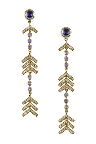 Long Arrow Earrings in 14K Yellow Gold with Pave Diamonds, Lolites & Tanzanites