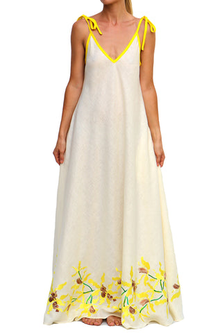 Lakou Adjustable Straps Maxi Dress in Cream