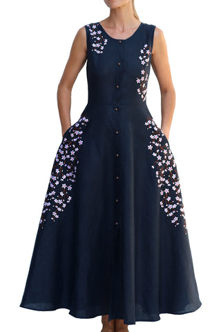 Laline Fully Open Maxi Dress in Navy