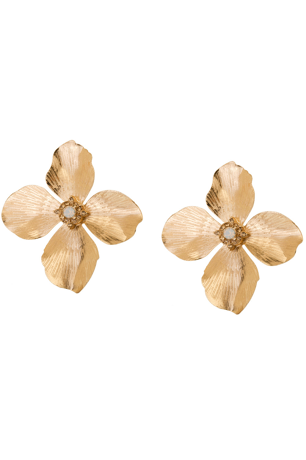 Large Flower Stud in Gold