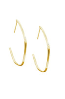 Large White Diamond Organic Shaped Hoop Earrings thumbnail