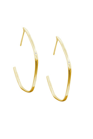 Large White Diamond Organic Shaped Hoop Earrings