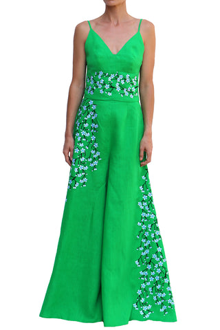 Lavale Embroidered 2 Piece Pants Set in Green