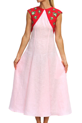 Laye Open Back Midi Dress in Pink