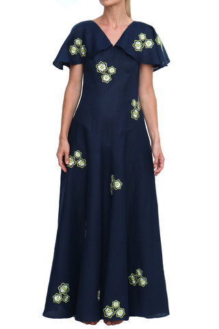 Layite V Neck Layered Sleeve Maxi Dress in Navy