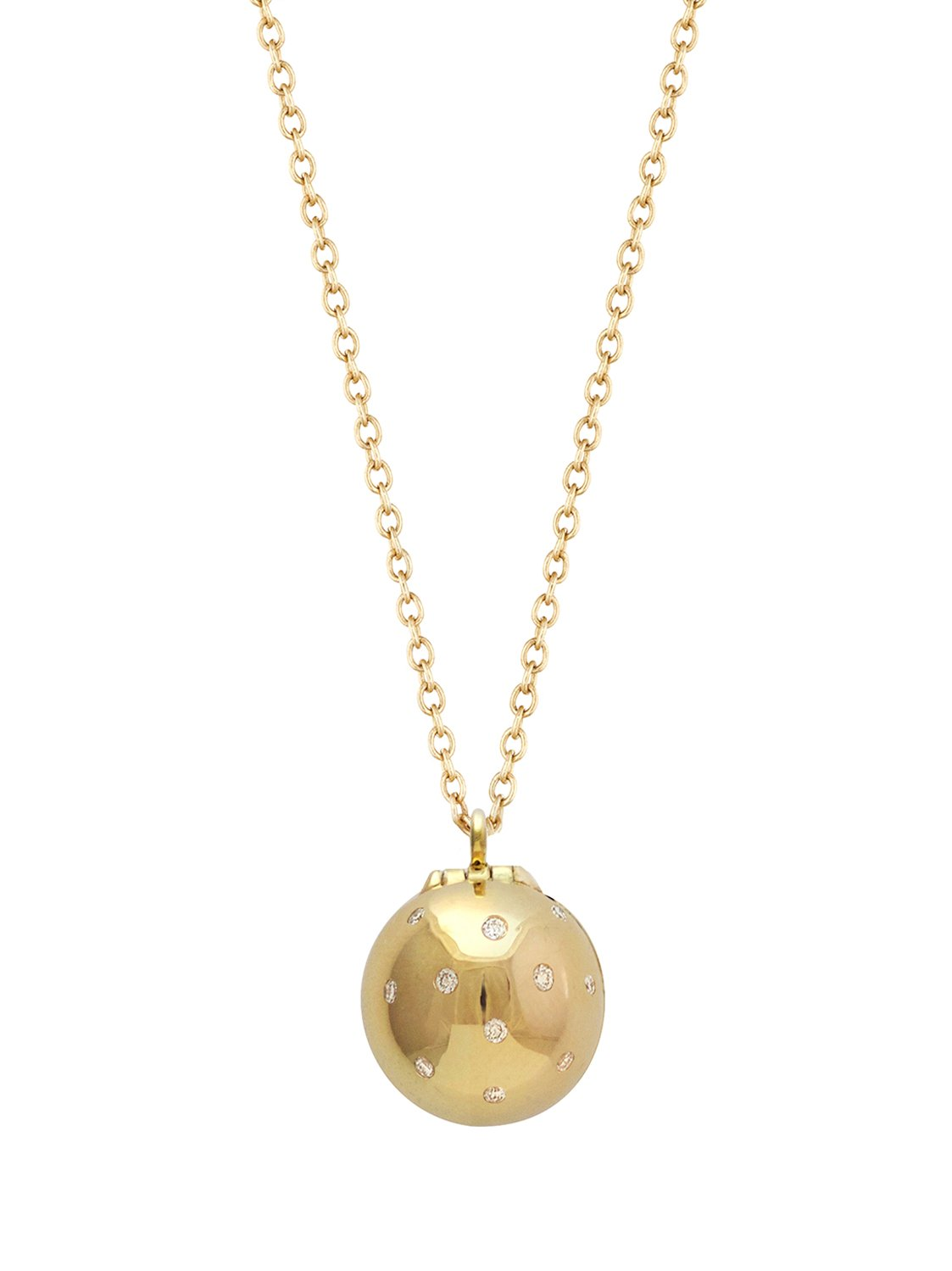 Letter A Signature Sphere Orb Necklace in 18k Yellow Gold with Diamonds and Red Enamel