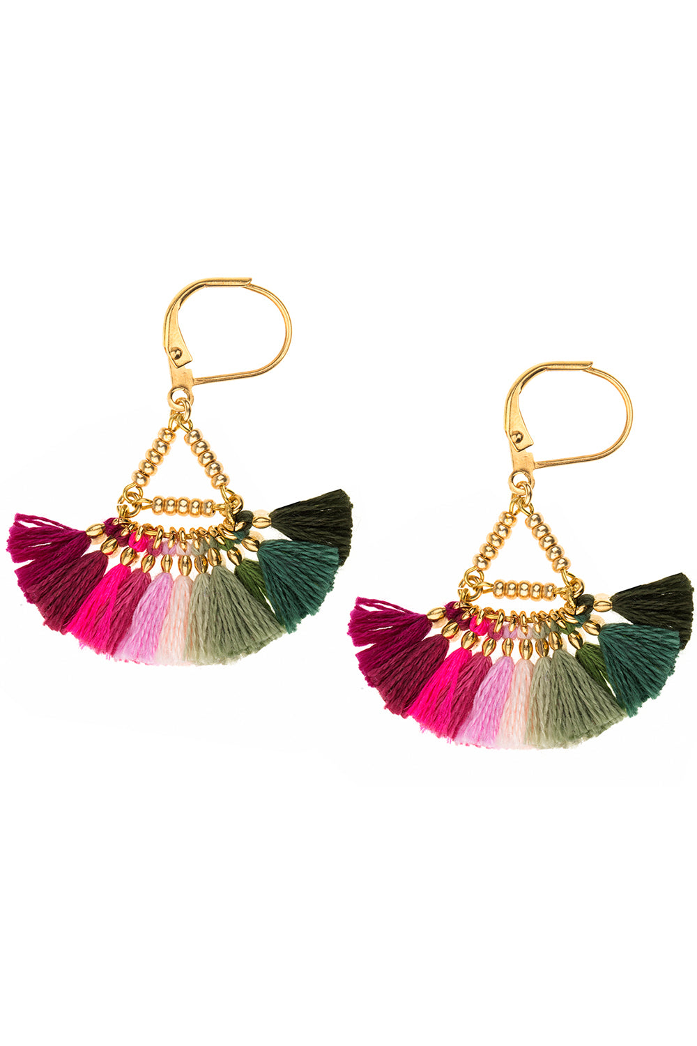 Lilu Earrings in Pink & Green Multicolor