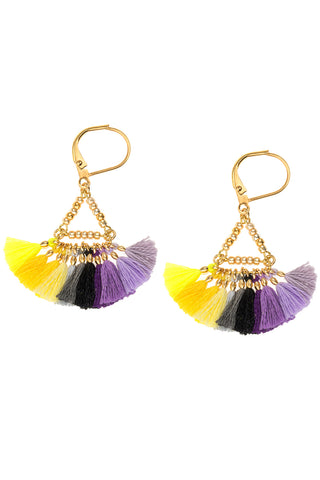 Lilu Earrings in Purple & Yellow  Multicolor