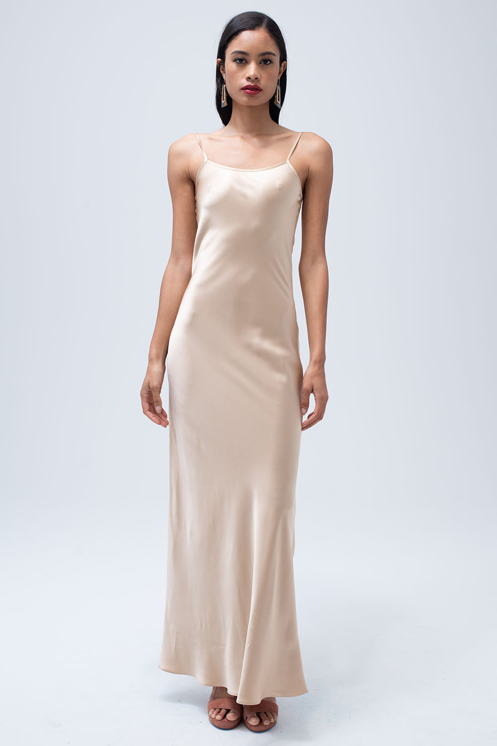 Liquid Silk Slip Dress in Blush