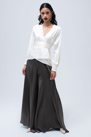 Liquid Silk Wrap Blouse in Ivory