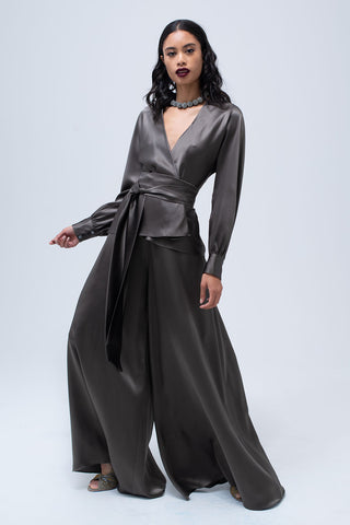 Liquid Silk Wrap Blouse in Slate