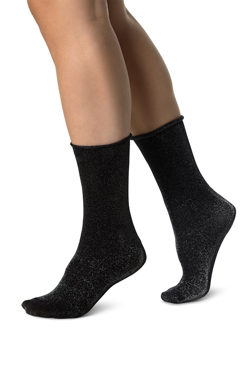 Lisa Shimmery Socks in Black-Silver