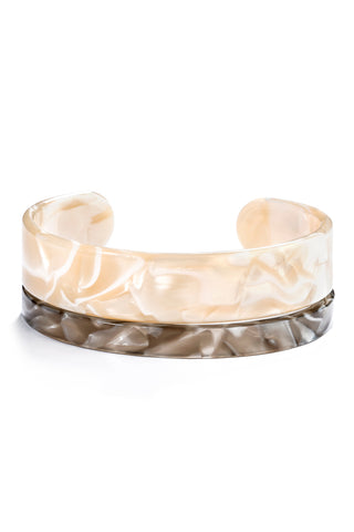Lucite Cuff Set in White and Grey