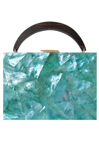 Lunch Box Clutch in Emerald Mother of Pearl
