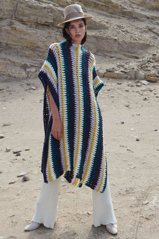 Mango high neck cape multicolor